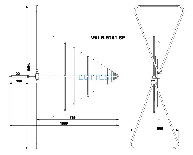 VULB 9161 SE符合CISPR22的特殊天线尺寸图