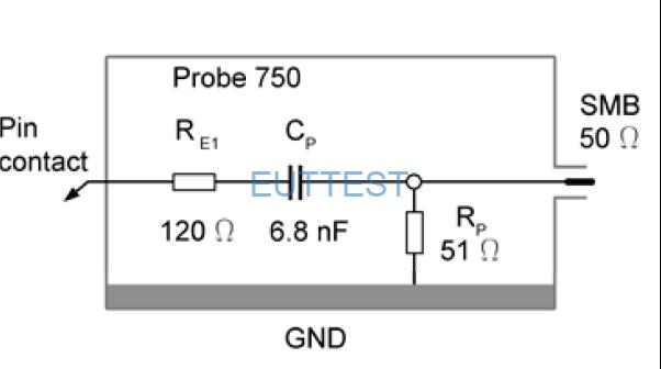 P750在IC引脚上测试的等效电路图