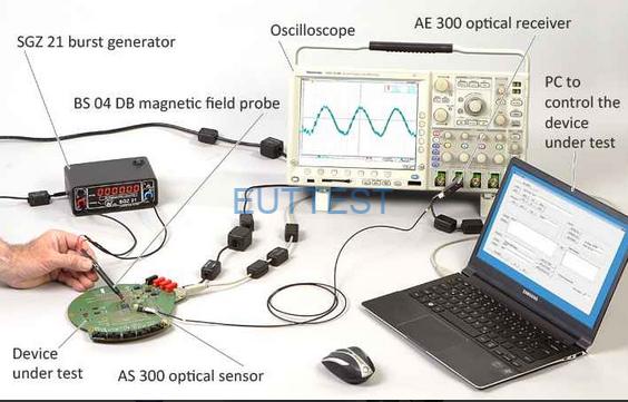 AS100和E1搭配使用检测E1发出的脉冲干扰波形