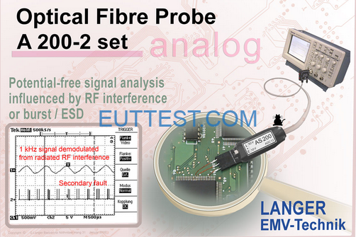 A200- 1/2 set 德国 langer-emv 模拟转光纤信号到示波器 带宽500kHz